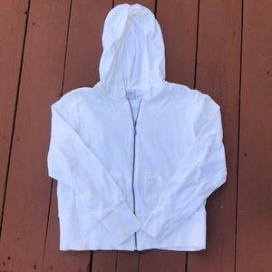 COLUMBIA WHITE ZIP FRONT HOODIE, SIZE LARGE